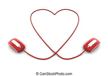 Online Love - Two Mice and a Heart Shaped Cable - two red...