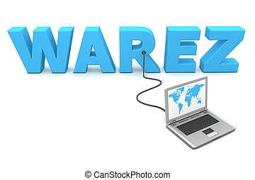 Wired To Warez - a laptop with a world map connected to the...