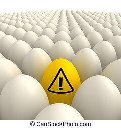 uova, attenzione,  -, giallo, uno, campo, segno, uovo