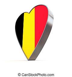 Solid Shiny Metallic Heart - Flag of Belgium