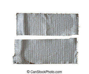 isolated duct tape - two dirty strips of silver gray duct...