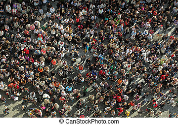 crowd from bird?s view - bird?s eye view to a crowd