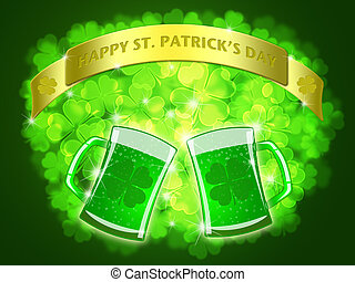 St Patricks Day Two Green Beers Banner Shamrock