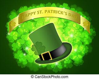 St Patricks Day Leprechaun Hat Banner Shamrock - St Patricks...
