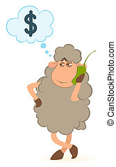 cartoon sheep speaks by phone