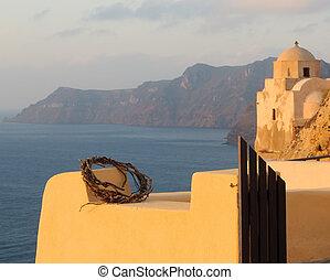 Architecture of Oia village, Santorini, Greece