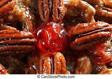 pecan fruit cake detail - close up detail of pecan fruit...