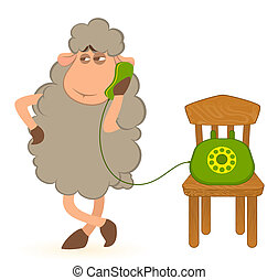 sheep sits on a telephone, waits a