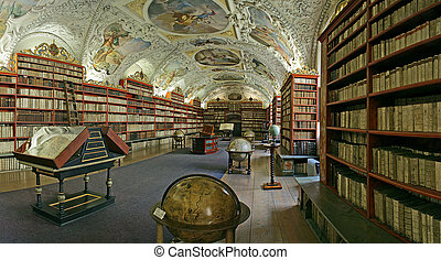 Prague-baroque library - Prague - matematical hall of the...