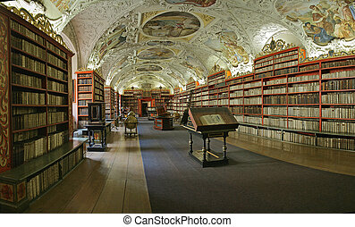Prague baroque library - Prague - matematical hall of the...