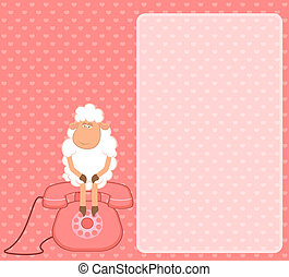 sheep sits on a telephone, waits a - illustration of cartoon...
