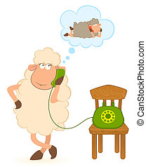 sheep with telephone, waits a bell