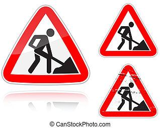 Variants a Works on the road - road sign - Set of variants a...