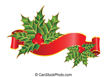 free stroke ribbons border - Christmas holly decorate with...