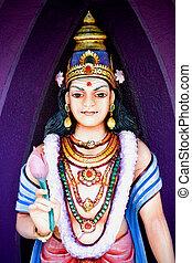 Hindu, sten, skulptur, tempel