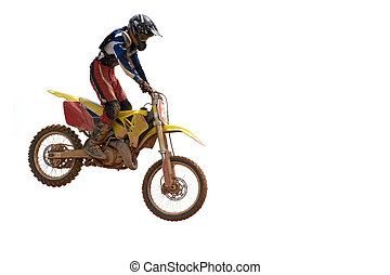 Motocross - Isolated image of motocross participant in...