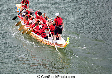 Dragon Boat Race - Participants of a dragon boat race in...