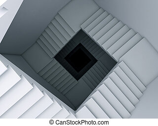 A stair to the infinity. - A 3d illustration of a spiral...