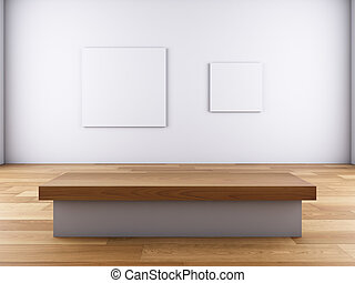 pictures on the wall and bench. - A 3D illustration of...