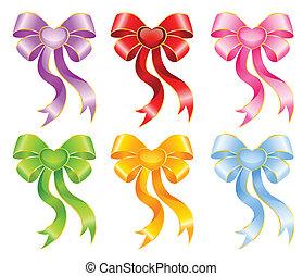varicoloured festive bows - set of varicoloured festive bows...