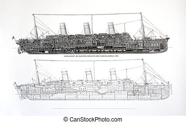 plan of an steamship - plan of an old steamship