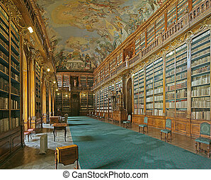 library hall in a baroque monastery