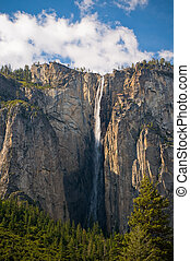 Bridalveil waterfall, Yosemite National Park, California,...