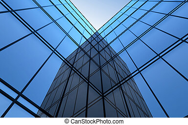 Ultramodern glass facade and sky. - 3D illustration of...
