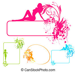 silhouette of girl and blots.