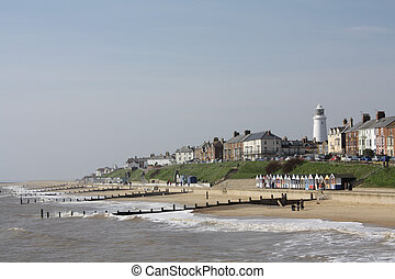 Seafront at Southwold, Suffolk, England - Seafront and...