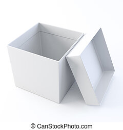 White opened empty box. - A 3D illustration of white opened...