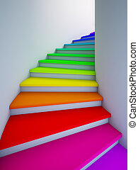 Spiral colorful stair to the future. - A 3d illustration of...