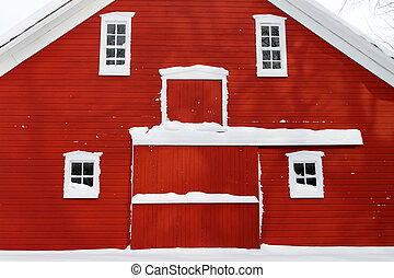 red barn facade - facade of historic Mennonite barn, North...