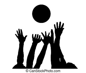 Hands and ball - Silhouettes of hands and ball on a white...