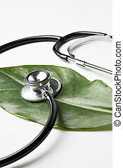 stethoscope on a leaf