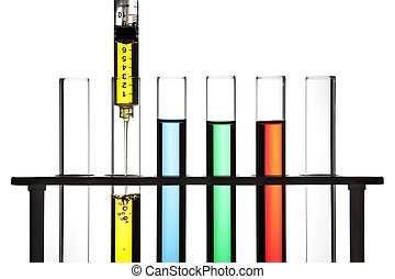 Syringe and test tubes - Row of test tubes filled with...