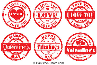 Stamp happy valentine's day and i l