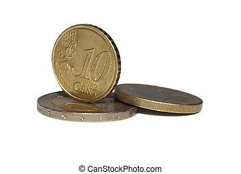 Euro cents -  Euro cent coins isolated on white background