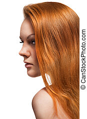 Portrait of red hair beautiful woman on white