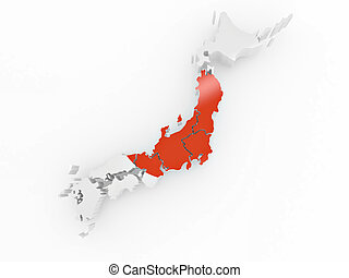 Map of Japan in Japanese flag colors