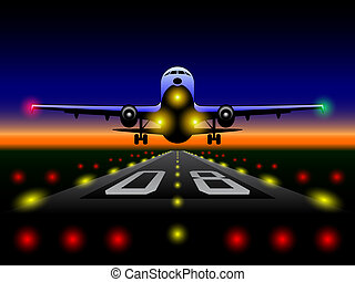 Airliner landing at sunset - Vector illustration of the...