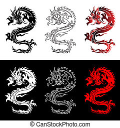 Set of the Chinese dragons - The vector Chinese dragon in...