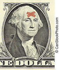 Washington dollar portrait with bandages - Washington...