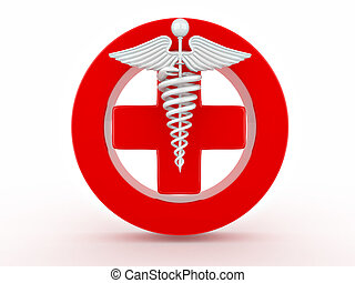Sign of medicine on white isolated background. 3d