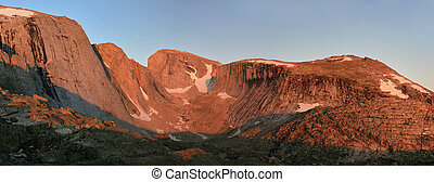 alpenglow on cliffs - alpenglow on the cliffs of Wind River...