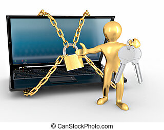 Men with keys and laptop with chain