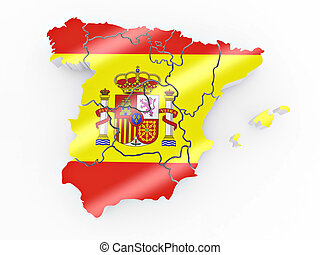 Map of Spain in Spanish flag colors. 3d
