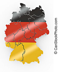 Map of Germany in German flag colors. 3d