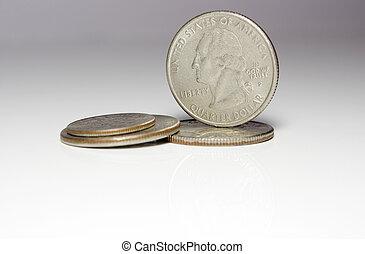 Quater dollar (25 Cent) coins.