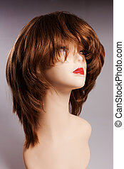 hair-do - model with the woman wig of chestnut color